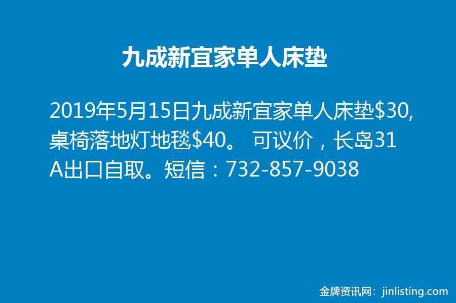 九成新宜家单人床垫 732-857-9038