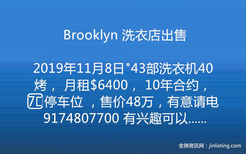 Brooklyn 洗衣店出售 9174807700