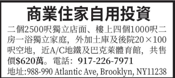 纽约商业投资房出售(917)226-7971