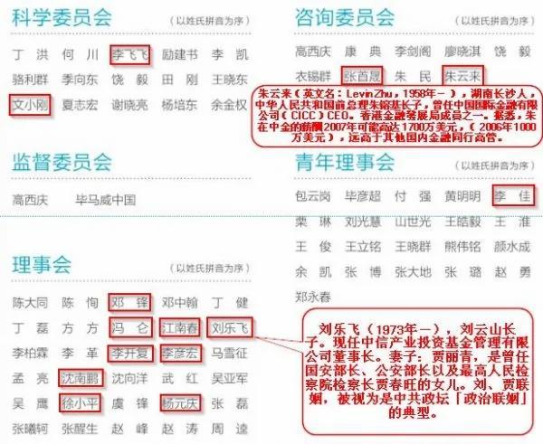 未来论坛部分组织成员名单(网页截图)